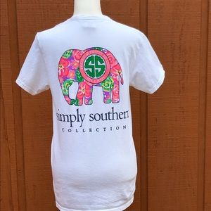 Simply Southern White Pink Floral Elephant T-Shirt